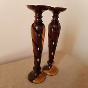 Candlesticks Pair Of Carved Wooden Twisted Vintage Two Toned 9 Inches