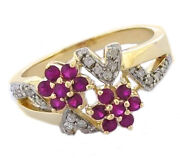 Genuine 9k,10k Or 18k Gold Natural Ruby Cherry Blossoms And Diamond Ring Your Size