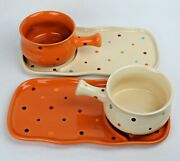 2 Temptations Trays For Soup Mugs And Sandwich Sets Polka Dot Cream And Spice, Disc.