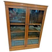 Mission Arts And Crafts Bookcase Slimline Three Adjustable Shelves Double Doors
