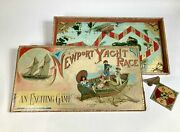 Antique 1891 Newport Yacht Race Children's Board Game, Sailing Toy Box