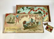 Antique 1891 Newport Yacht Race Childrenand039s Board Game Sailing Toy Box