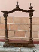 18th C Vintage Rare Wooden Hand Carved Floral Stand Wall Mirror Frame Jharokha