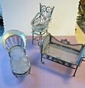 Vintage Lot Of 3 Victorian Antique Dollhouse Furniture Metal Chair Chaise Bench