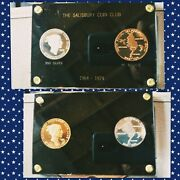 1974 Salisbury Coin Club Indian Chief Silver Gold Plated Bronze Medals Display