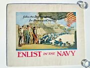 1910and039s Original Wwi Navy Recruiting Poster- Follow The Boys In Blue- Linen Back