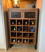 Vintage Wine Cabinet Industrial Style Bar Furniture Rustic Solid Reclaimed Wood