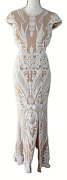 Ryse The Label Size S Emily White And Nude Fitted Sequin Cutout Maxi Dress Gown