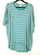 Lula Roe Irma Top L Gray With Teal Stripes