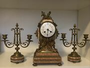 Antique Working 19th C. Mougin French Victorian 3 Pc Marble Candelabra Clock Set