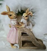 Easter Bunny Rabbit Family On The Slide Shabby Vintage Decoration 5 7/8in