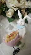 Vintage Easter Bunny Rabbit With Chicks Egg Shabby Chic Deco Landhaus