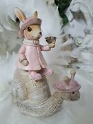 Easter Bunny Rabbit Snail Pink Easter Shabby Vintage Decoration 5 7/8in