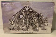 Nativity Set Towle Silversmith 14 Piece Traditional Set Silver Finished. Ab1000