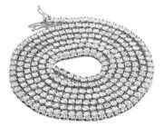 Real White Gold Finish 1 Row Diamond Chain Necklace 3.5 Mm 24 Inch 1.75 Cts