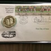 Extremely Rare 1977 First Day Cover With Coin 100years Of Test Cricket