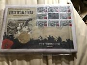 Rare First Day Cover With Coin Centenary Of Ww1 With Gold Plated Coin