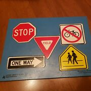 Vintage 1975 Judy Instructo Wooden Puzzle Safety Driving Road Signs 5 Piece