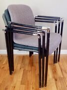 Herman Miller Chairs Stackable El101 Set 3 Molded Plastic Fabric And Steel Frames
