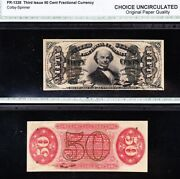 Scarce Choice Uncirculated Spinner 3rd Issue 50 Cent Fractional Free Ship