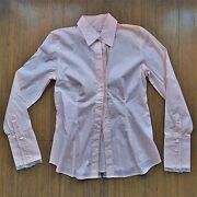 Nwt Banana Republic Light Pink Scalloped Lace Trim Button Up Down Shirt Blouse S