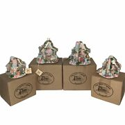 Easter Spring Village Figurine Houses Lot Of 4 Collectible Clay House Originals