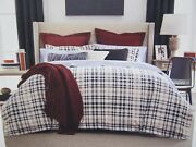 Clifford Plaid Flannel King Comforter Sham Set Navy And Red New