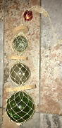 Vintage 4 Glass Japanese Fishing Floats Balls Netted Together With Cork
