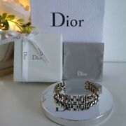 Dior Jand039adior Antique Gold Crystal Cuff Bracelet Rrp Andpound450.00