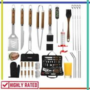 Bbq Grill Tools Set With Thermometer Meat Injector Stainless Steel Set Grilljoy
