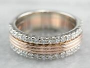 Double Row Diamond Rose Gold Band Ring