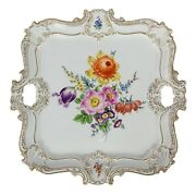 Large Meissen Hand Painted Gilded Porcelain Serving Plate / Tray