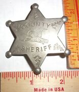 Vintage County Sheriff Badge Collectible Old West Cowboy Southwestern Pinback