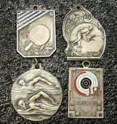 Uruguay Old Lot X4 Sports Awards Medals Shooting Swimming Table Tennis Bocce