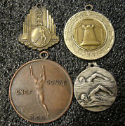 Uruguay Antique Lot X4 Sports Awards Medals Hockey Swimming Chess Athletic