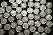 Lot Of 25 Roosevelt Dimes 90 Silver Coins 1/2 Roll 1946-64 Ship Disc Avail Rd