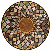 42 Marble Dining Table Top Inlay Rare Semi Round Center Coffee Table Ar1274