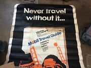 1970 Mobil Travel Gude Tyvek Gas Station 2 Sided Sign / Advertisement 50andrdquo X. 50andrdquo