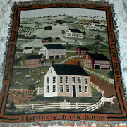 Primitive Country Farm Tapestry Throw Blanket D. Coble Peace For America Prayer