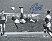Pele Brazil National Team Signed 8and039and039 X 10 Black And White Bicycle Kick Photo