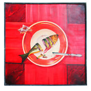 Herring Original Picture Drawn In Oils On Canvas 1/1 Free Shipping Size 31.4in