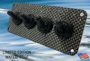 Waterproof Limited Edition Carbon Fiber Panel 4 Toggle Switches W Rubber Covers
