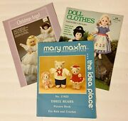 3 Crochet And Knit Pattern Books,teddy Bear Clothes,doll Clothes-4 Assorted Sizes