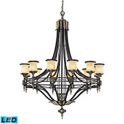 Elk Lighting 2434/12-led 12 Light Antique Bronze And Dark Umber And Marblized Up