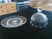 Heisey Glass Dome Covered Butter Dish With Diamond H Mark On Bottom And Dome