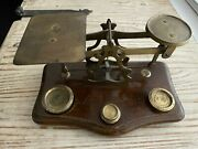 Circa 1880 Victorian English Brass And Wood Postal Postage Scale With 4 Weights
