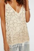 Free People Midnight Party Flapper Fringe Tunic Top Dress S Nwt 178.00
