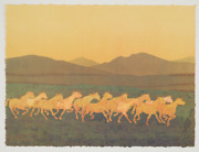 Original Signed Kevin Red Star Lithograph Dustyand039s Running Horses