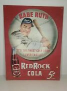 Babe Ruth Red Rock Cola 5 Cent Tin Sign Advertising Wall Decor