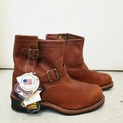 New Chippewa Brown Leather Engineer Boot 7 Steel Toe 91065 Sz 10 1/2 E Sold Out